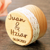 Personalized Gift Rustic Wedding Ring Bearer Box Laser Engraved Custom Jewelry Wood Wedding Ring Box With