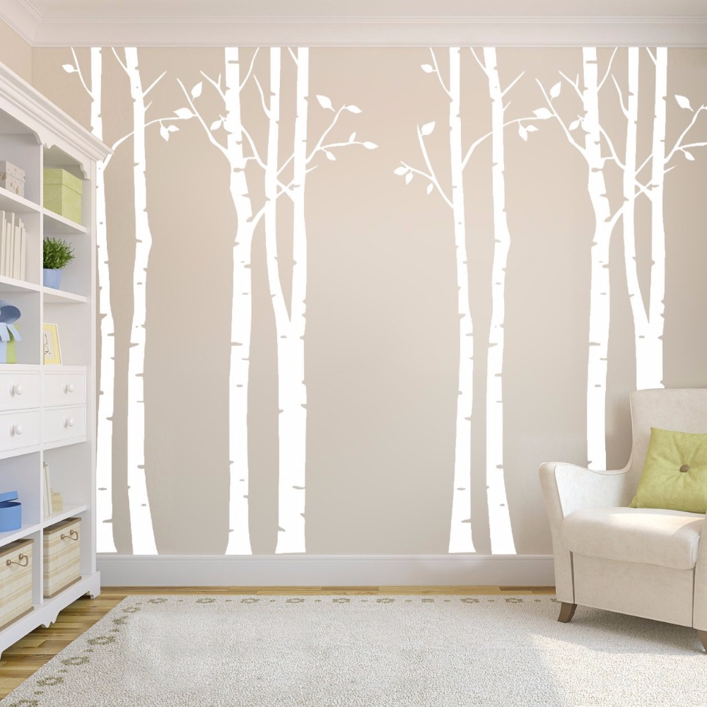 Wild birch forest with owls vinyl wall decal - Birch Tree Forest Family Vinyl Wall Decals Mural Art Decals Diy Home Decor Removable Nursery Living