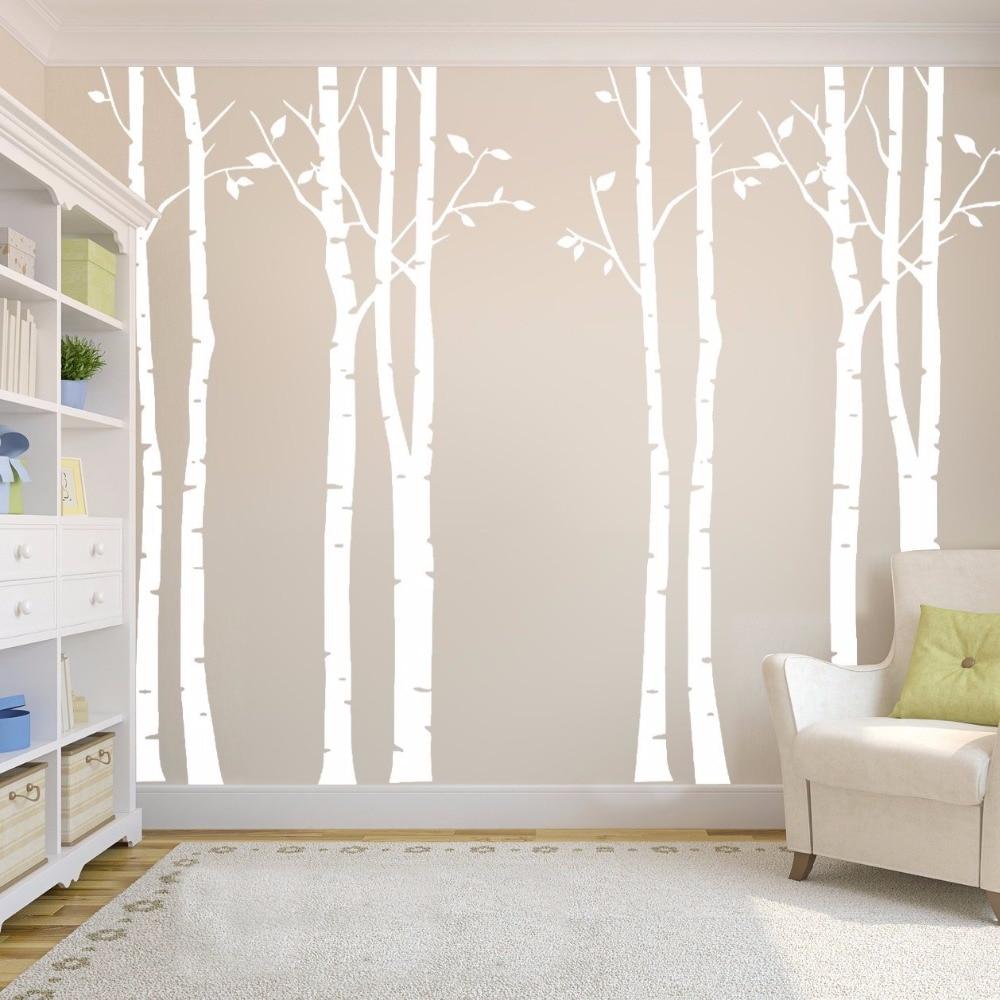 Birke wald familie vinyl wandtattoos wand for Wand kunst wohnzimmer