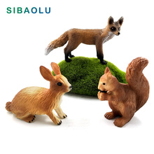 Simulation Little Fox hare Rabbit Squirrel Animal model figurine home decor miniature fairy garden decoration accessories statue