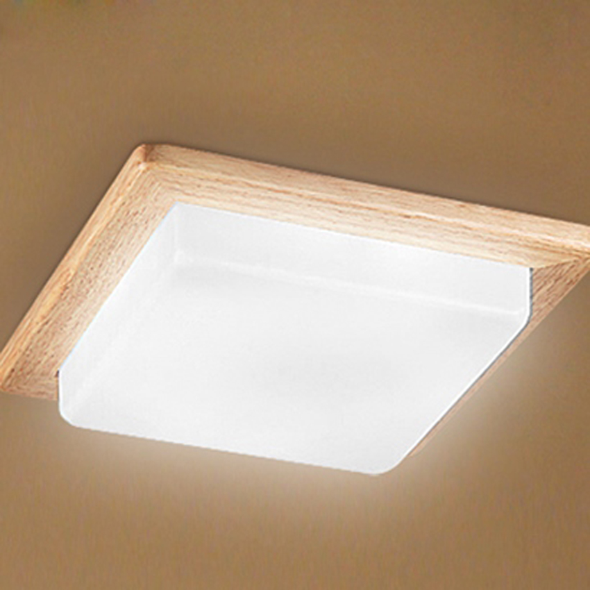 Modern Brief Living Room Square Wood Ceiling Lamp Fixture Home deco Bedroom Bar Counter Acrylic LED Ceiling Light