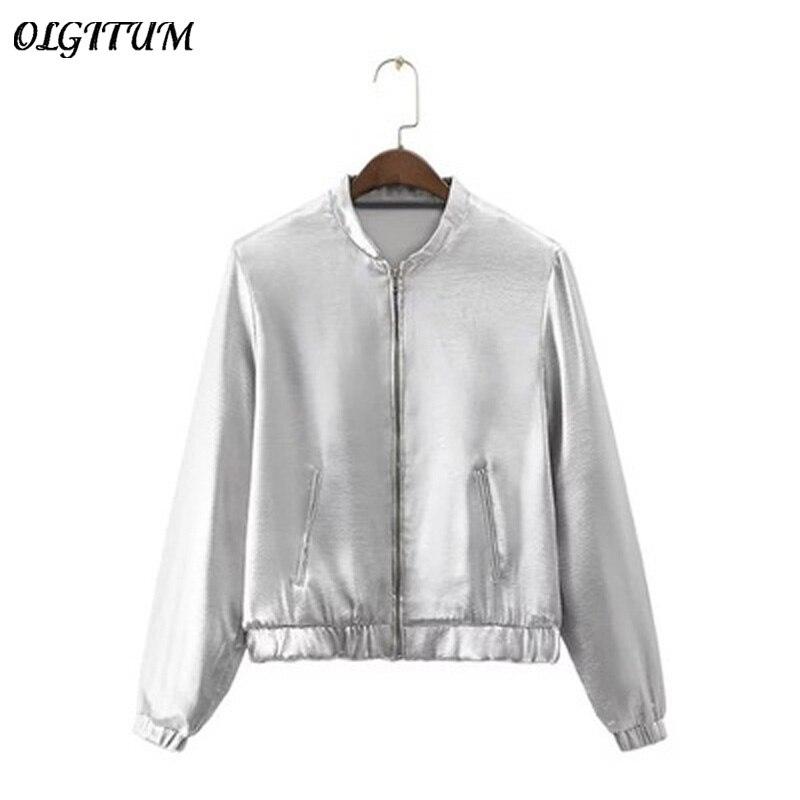 Damen Jacken Farbe Langarm Verkauf2018 Frauen Metallic Heißer Jacke Reißverschluss Stehkragen Silber Neue Mode rBQdCWxoe