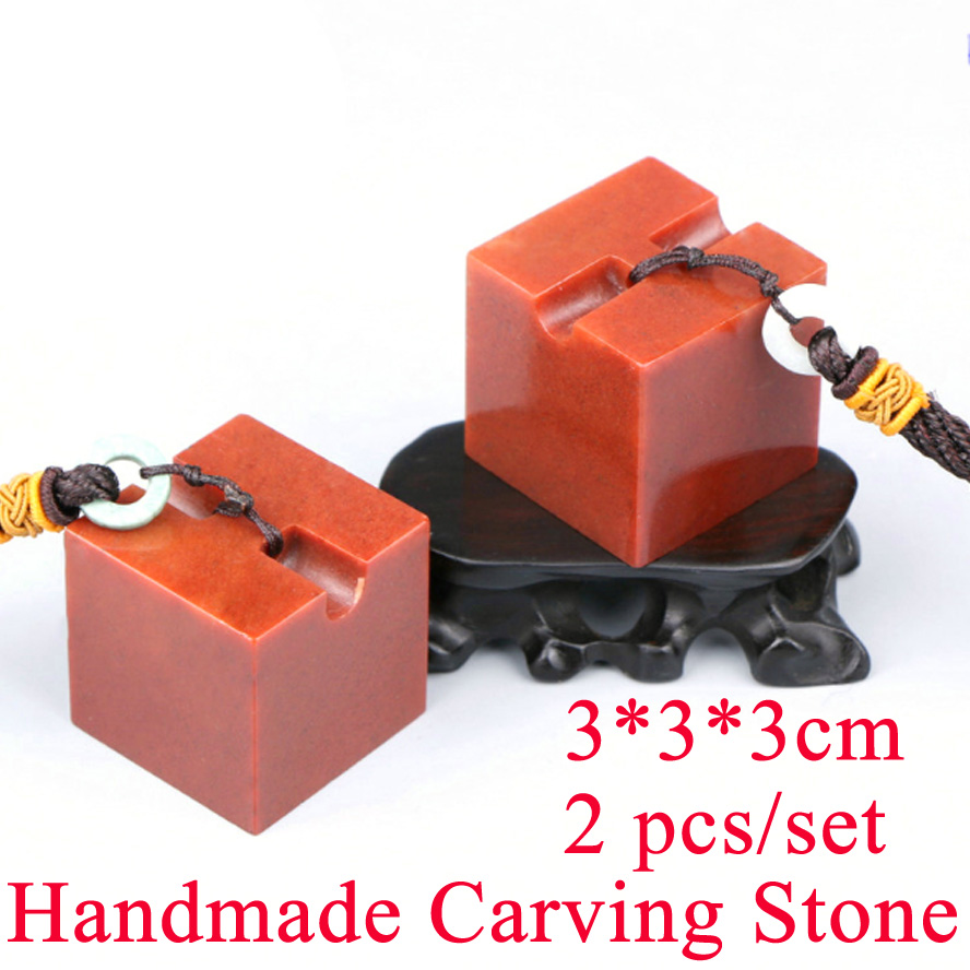 2Pcs/set Red color Painting Stamp Seal Stone Handmade Carving Stone Sculpture Seal Stone ...