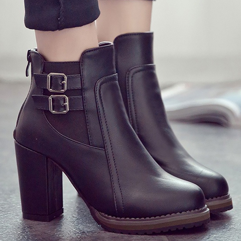 High ankle boots for woman zipper elastic band buckle rubber designer hoof heels boot ru ...