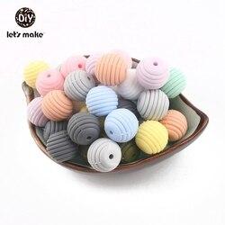 Lassen sie Machen Silikon Perlen 10 stücke 15mm Gewinde Spiral Perlen Silikon Kautable DIY Mint Perlen Zubehör BPA FREI baby Beißringe
