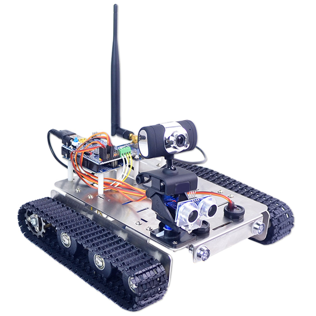 DIY Robot Car Chassis Intelligent Vehicle Aluminum Alloy Track Body (Line Patrol Intelligent Obstacle Avoidance Version)