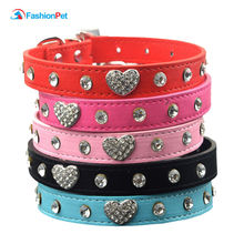Heart Charm Rhinestone Studded Pu leather Pet Collar