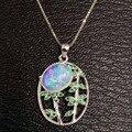 Natural opal colgante s925 Collar de plata Colgante de piedras preciosas Naturales de moda Elegante gran ronda Hojas joyería partido de las mujeres