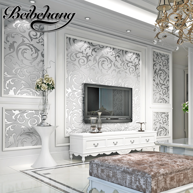 Beibehang European Style Scabies Leaves Wallpaper Bedroom