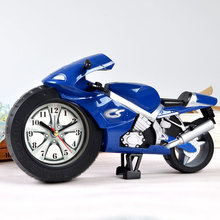 Motorcycle Alarm Clock Gadgets Creative Lazy Student Children Cartoon Toy Personality Battery Bedroom Bedside Mini Clock