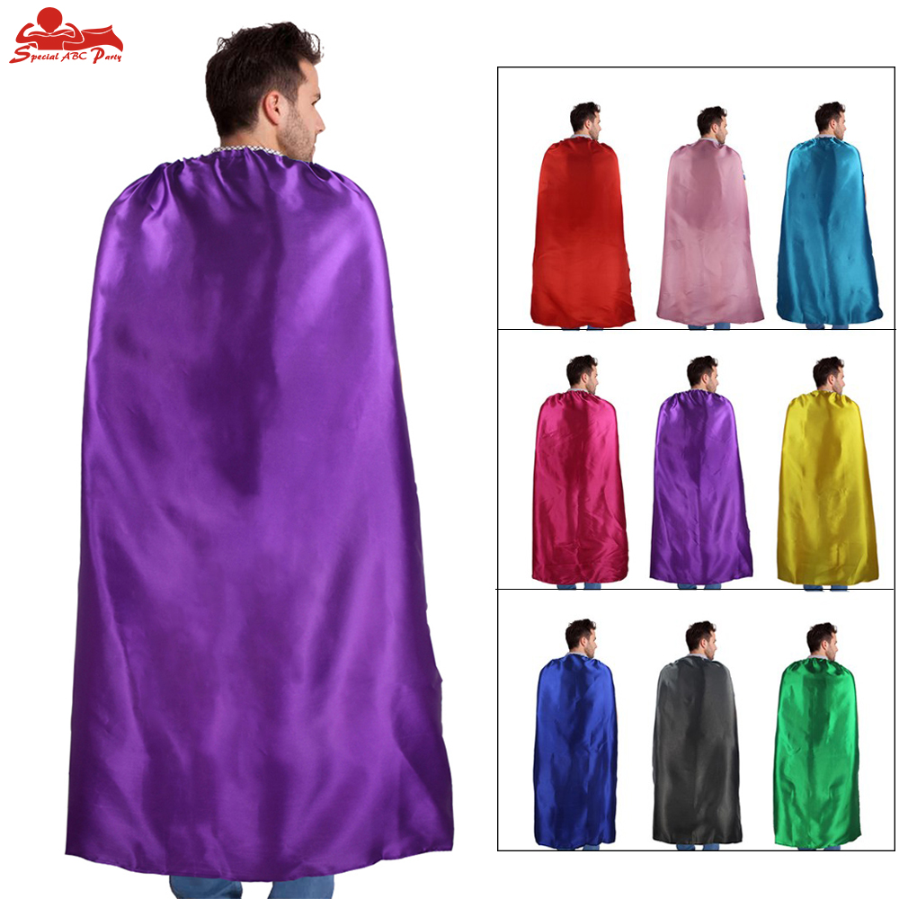 ESPECIAL 140 * 90 cm Adulto Superhéroe Cape Satin Fabric Party Masque Traje de carnaval Hombres adultos Cosplay Hero Capa de Halloween