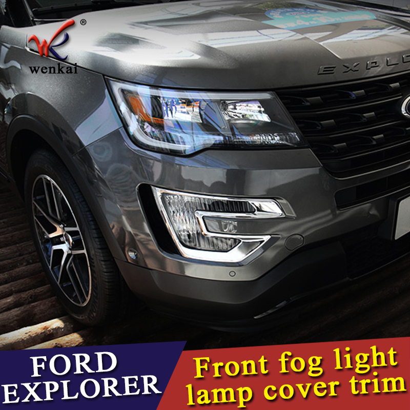 4pcs chrome front fog light cover strip trims Fit For Ford Explorer 2016 2017