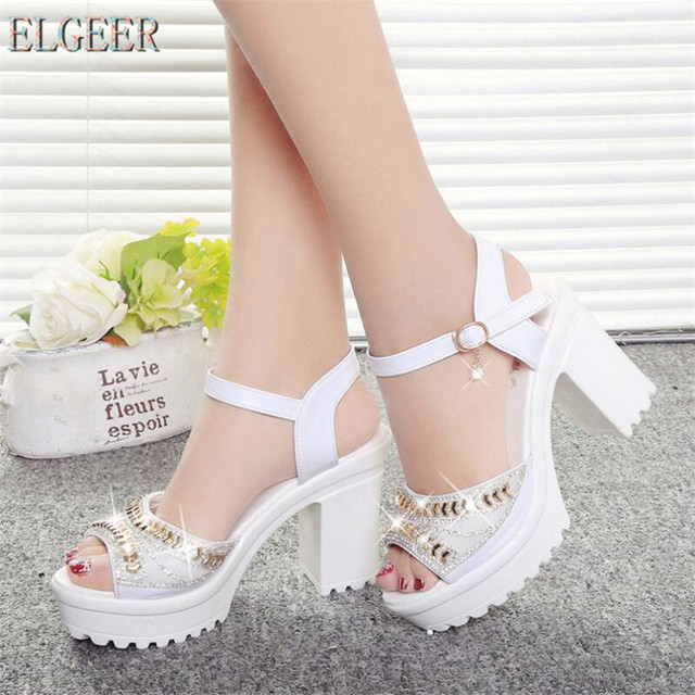 ELGEER 2018 new thick with sandals female summer diamond fish mouth thick bottom muffin waterproof platform with high