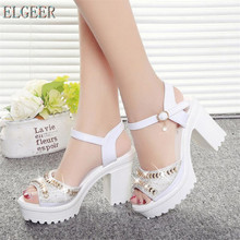 ELGEER 2019 new thick with sandals female summer diamond fish mouth bottom muffin waterproof platform high