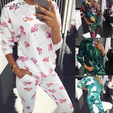 Autumn Winter Floral Pajamas Set Womens Long Sleeve Round Neck Loose Soft Plus Size Pyjamas women sleepwear Female Homewear