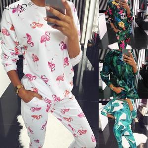 Image 1 - Autumn Winter Floral Pajamas Set Womens Long Sleeve Round Neck Loose Soft Plus Size Pyjamas women sleepwear Female Homewear