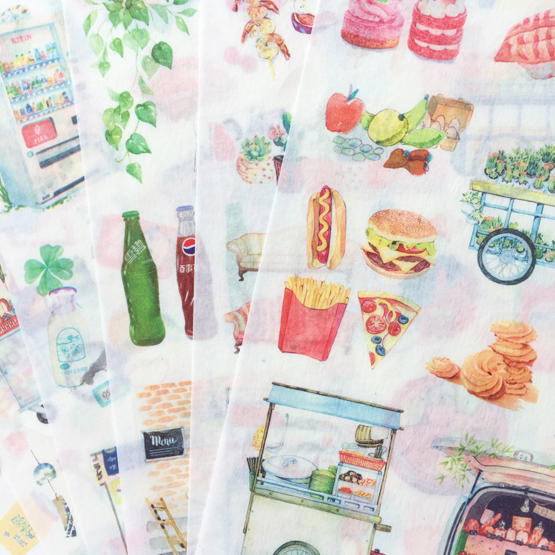 6 Sheets /Pack Washi Paper Simple Life Delicious Food Drink Adhesive Stickers Decorative Album Diary Stick Label Hand Account