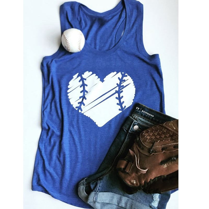 Learned Women Hot Fashion Summer Female Top Baseball Heart Printed Tanks Top With The Best Service