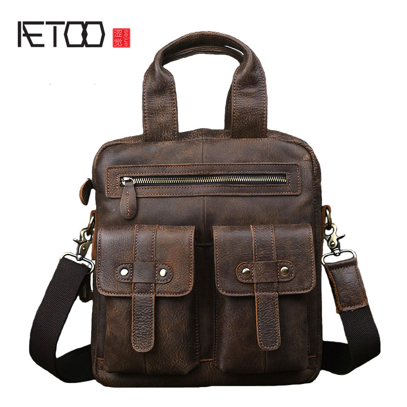 AETOO Original scrub leather men s vertical handbag shoulder Messenger bag retro handmade leather computer bag