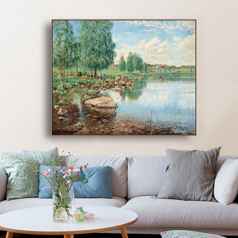 River Scene Famous Oil Paintings Wall Art Poster Print Canvas Painting Calligraphy Decor Picture for Living Room Home