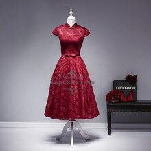 Elegante cocktailkleider Lace Scoop Open Back 2016 Red Cocktailkleid Flügelärmeln Abendkleider Echt Bilder Party Kleid