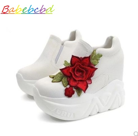 Spring new fashion inside peak pupil footwear thick backside cake loafers footwear 12cm excessive heel white canvas footwear feminine slope Girls's Pumps, Low-cost Girls's Pumps, Spring new fashion inside...