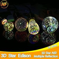 Party 3D Star Silver Glass LED Edison Bulb E27 Colourful LED Lamp 220V Retro Filament Light