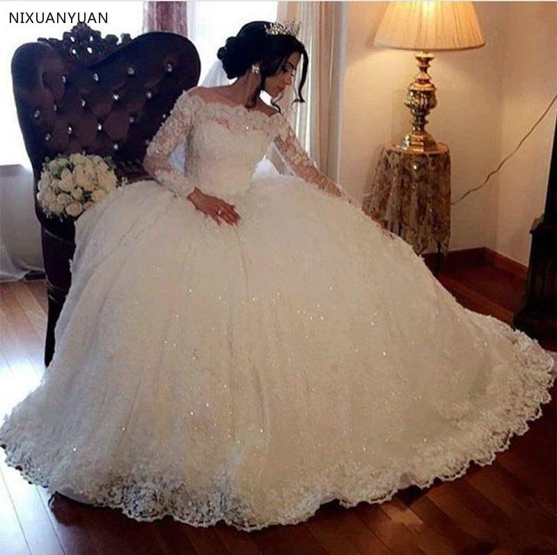 Ball Gown Wedding Dresses 2020 Vintage Long Sleeves Lace Appliques Sequins Puffy Arabic Dubai Formal Church Bridal Wedding Gowns
