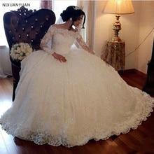 Vestido de baile vestidos de boda 2020 Vintage manga larga Apliques de encaje lentejuelas abultado árabe Dubai Formal iglesia vestidos de boda