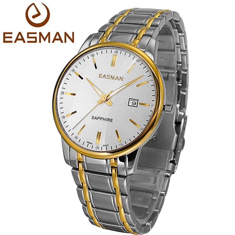 EASMAN Brand Mens Wristwatch Gold Top Designer Black Luxury Classics Sapphire Solid Strap Clock Men Wristwatch