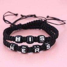 Couple Bracelet His Hers Lovers Bracelet Personalized Gifts Button Block Boyfriend Girlfriend