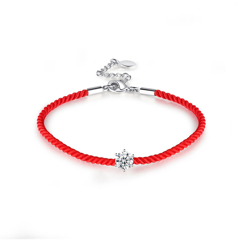 BOAKO Women Red Rope Thread String Bracelet Silver/Rose Gold Color AAA CZ Lucky Braided Charms Adjustable Bracelet pulsera X7-M2