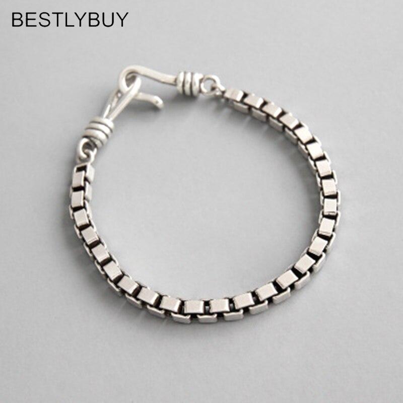 BESTLYBUY 4 MM largeur boîte chaîne Bracelets Vahine authentique 925 bijoux en argent Sterling pour les amoureux Couple Bracelet saint valentin cadeau