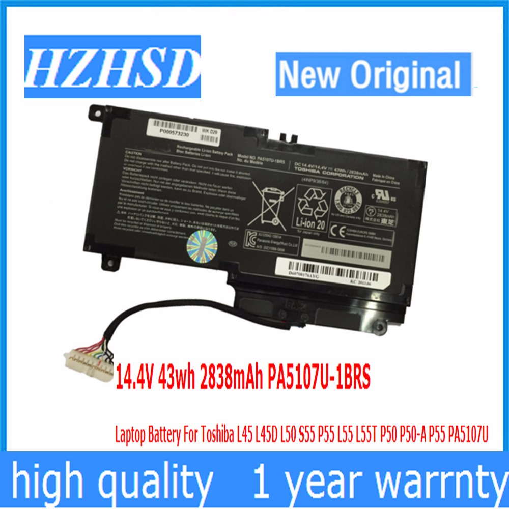 14,4 V 43wh 2838 mAh nuevo Original PA5107U-1BRS batería del ordenador portátil para Toshiba L45 L45D L50 S55 P55 L55 L55T P50 P50-A P55 PA5107U