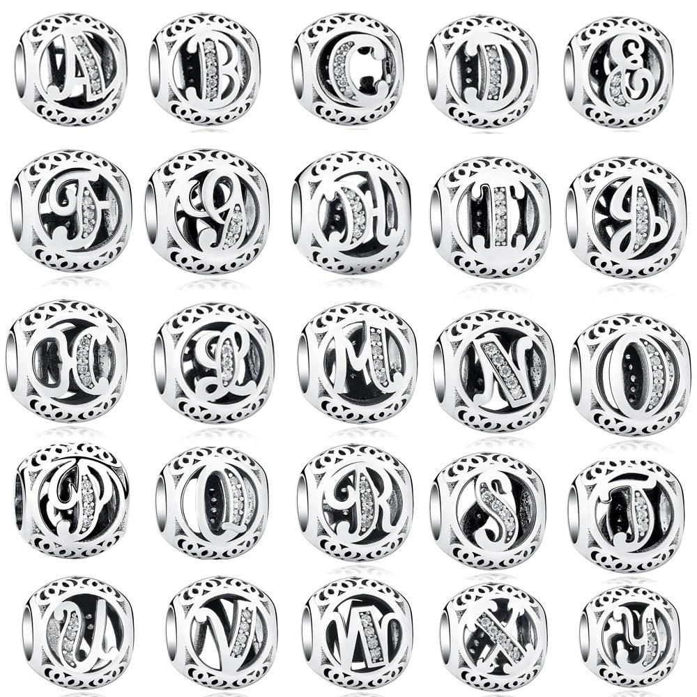 Autentiškos apvalios abėcėlės raidės, tinkančios Pandora - Mados papuošalai
