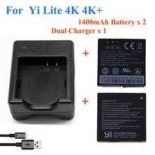 2ピース1400 mahのためxiaomi yi lite/yi 2/4 kplus 4 k +バッテリー+ usbデュアル充電器のためのオリジナルxiaomi yi 4 kアクションカメラアクセサリー