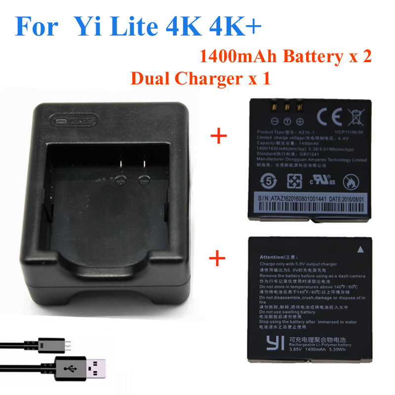 2pcs 1400mah For Xiaomi YI lite  YI 2 4Kplus 4k+ Battery+USB Dual Charger For Original xiaomi yi 4k action camera Accessories