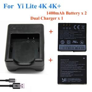 Image 1 - 2pcs 1400mah For Xiaomi YI lite / YI 2/ 4Kplus 4k+ Battery+USB Dual Charger For Original xiaomi yi 4k action camera Accessories
