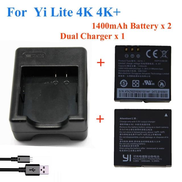 2pcs 1400mah For Xiaomi YI lite / YI 2/ 4Kplus 4k+ Battery+USB Dual Charger For Original xiaomi yi 4k action camera Accessories