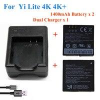 2pcs 1400mah For Xiaomi YI Lite YI 2 4Kplus 4k Battery USB Dual Charger For Original