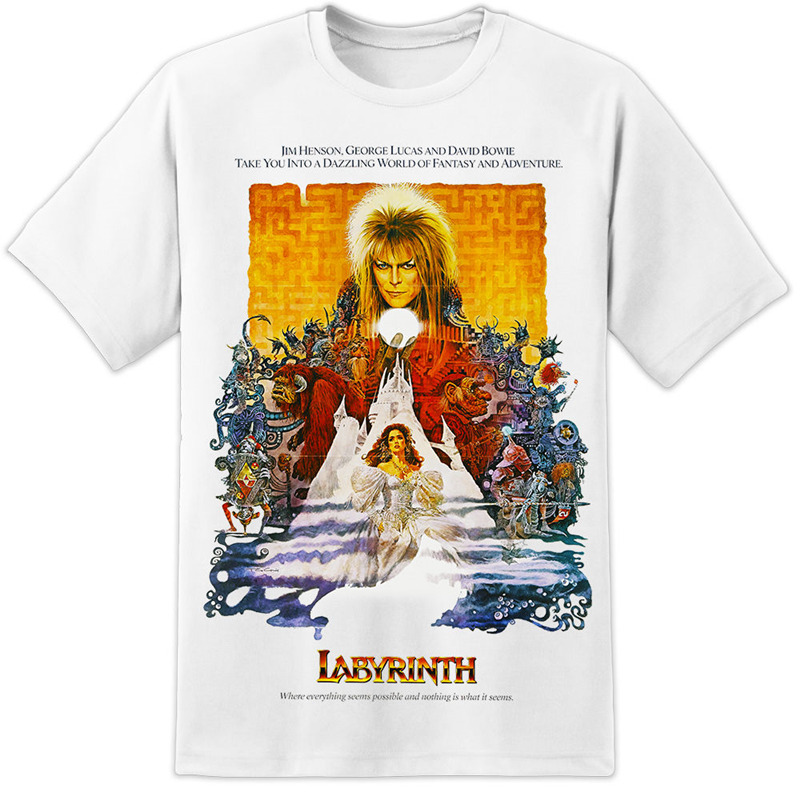 T Shirts 2018 Brand Clothes Slim Fit Printing O-Neck Short Labyrinth Retro Movie Poster New Style Tee Shirt For Men