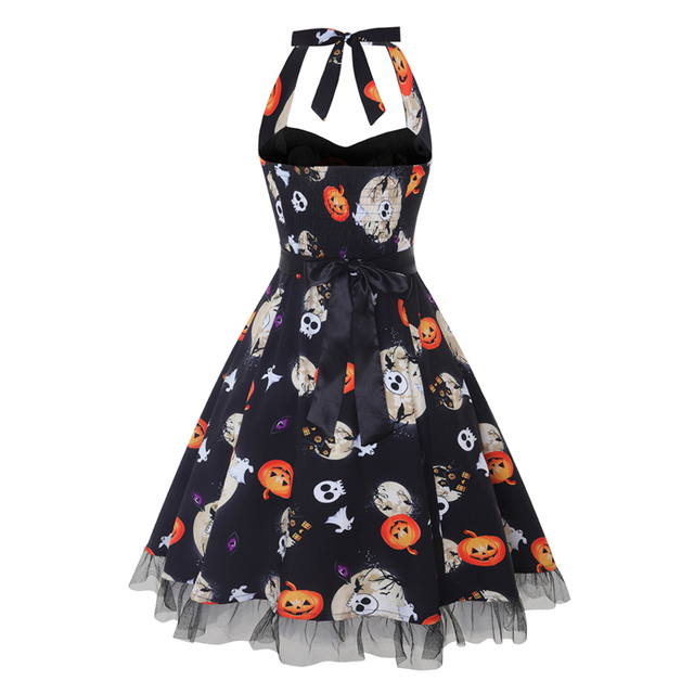 Vintage dress Halloween Style Women's Halter Skull Print Rockabilly