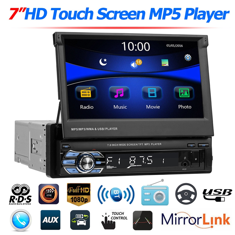 SWM 9601 Upgraded Foldable 7 Screen Car Stereo MP5 Player RDS AM FM Radio Bluetooth 4