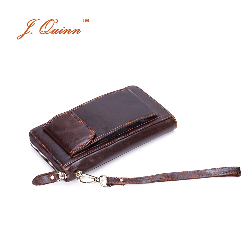 J. Quinn téléphone hommes huile cire cuir portefeuilles d'embrayage avec bande de poignet grande fermeture à glissière sac pratique Iphone 6 Vintage affaires voyage portefeuille