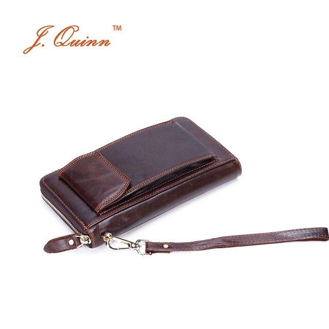 J. quinn Telefon Erkekler Yağı Balmumu Deri Debriyaj Cüzdan Bilek Kayışı ile Büyük Fermuarlı Kullanışlı Çanta Iphone 6 Vintage İş seyahat cüzdanı