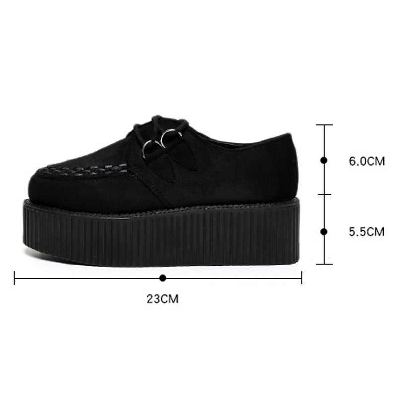 Creepers Frauen Schuhe frauen wohnungen Lace-up Creepers Plattform Schuhe Wildleder komfort damen schuhe Schwarz espadrilles weibliche plus größe