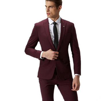 Fashion men suits wine red groom suit men's formal suits 2017 a button slim male wedding men suit custom made (coat and pants)