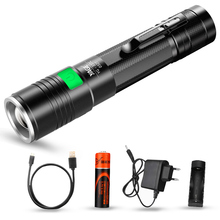 YAGET6 2000LM Aluminum Zoomable 5-Modes CREE LED USB Clip Flashlight Torch Light with 18650 Rechargeable Battery  YG-337C Lamp