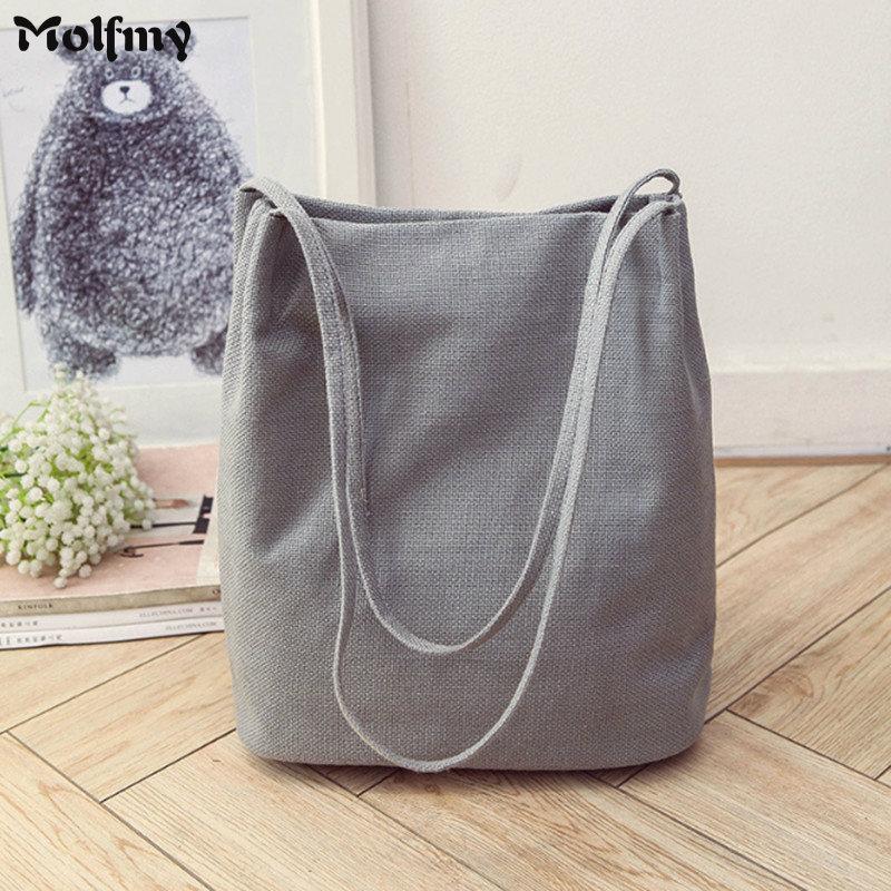 Women's Canvas Tote Bucket Bags Foldable Shopping Bag Ladies' Shoulder Bag School Books Bag Eco Friendly Linen Handbag
