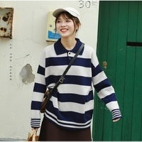 Korean Vogue panelled Women Sweater Korean Long Sleeve POLO neck Female Knitted Pullovers Casual Ladies Winter base Tops
